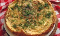 Блинный пирог с куриным филе и грибами