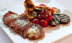 Рибай стейк с маслом метрдотель и овощами-гриль