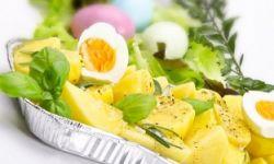 Салат из картошки с перепелиными яйцами