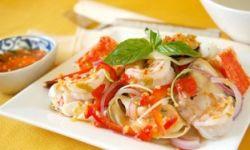 Салат из морепродуктов с апельсином и грейпфрутом