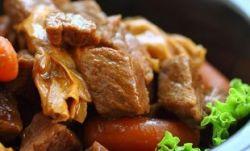 Жареная говядина с овощами и медовым соусом
